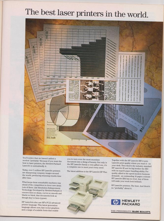 impressoras a laser de HP Hewlett Packard da propaganda de cartaz no compartimento desde 1992, as melhores impressoras a laser no foto de stock
