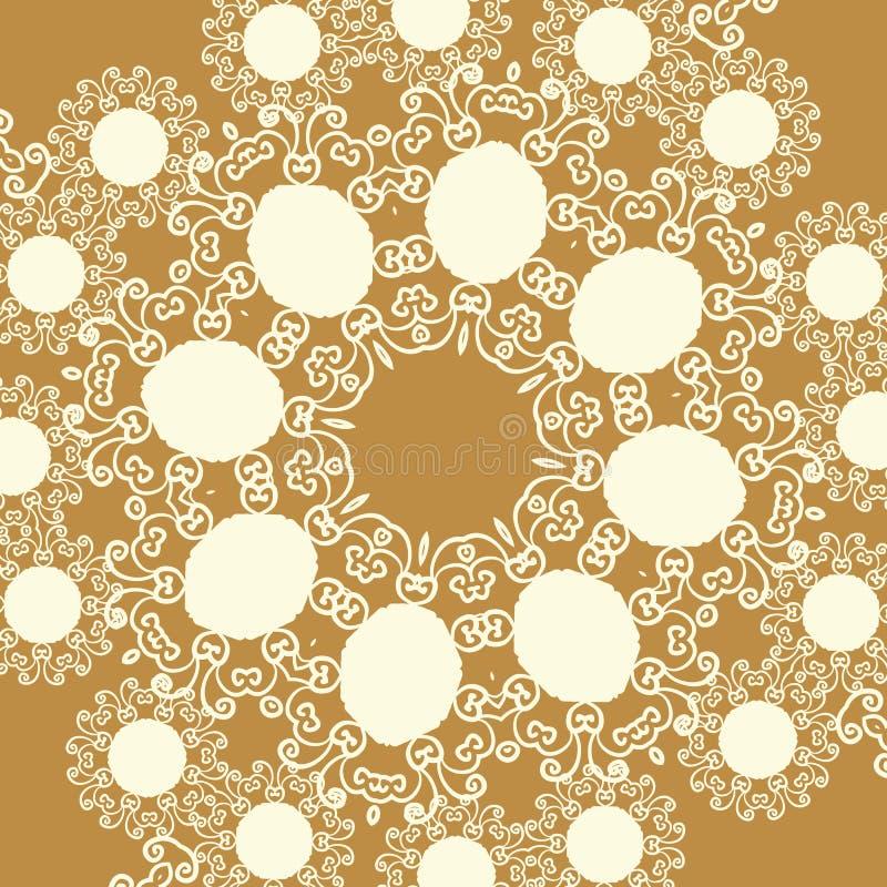 Imprima en estilo oriental del tono marrón claro del color de la sepia ilustración del vector