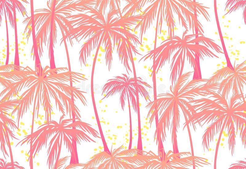Imprima, modelo inconsútil de las palmeras rosadas en el fondo blanco Ejemplo del vector, elemento del diseño para la enhorabuena stock de ilustración