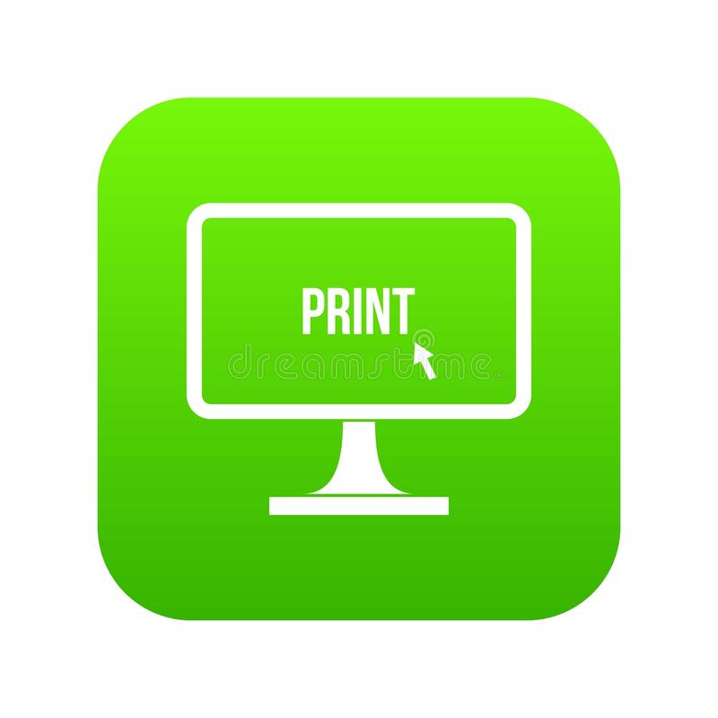 Imprima a palavra em um verde digital do ícone do monitor do computador ilustração royalty free