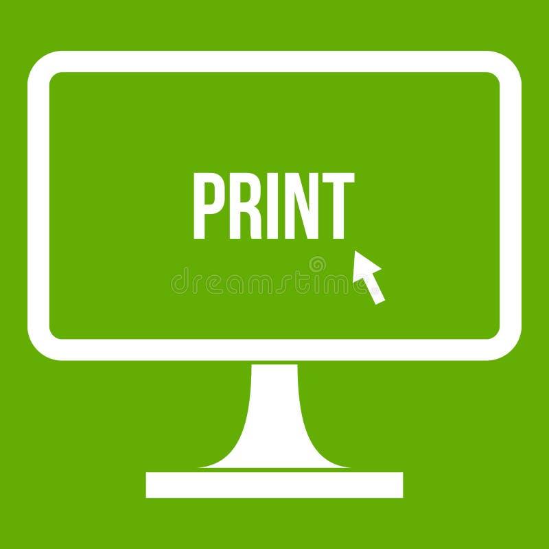 Imprima a palavra em um verde do ícone do monitor do computador ilustração do vetor
