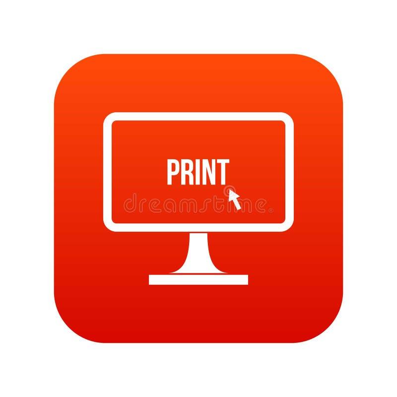 Imprima a palavra em um vermelho digital do ícone do monitor do computador ilustração do vetor