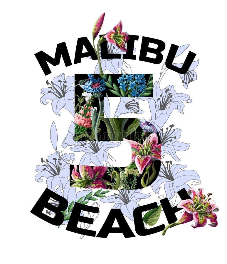 Imprima para la camiseta con los lirios, las flores y lema Ilustración del vector ilustración del vector