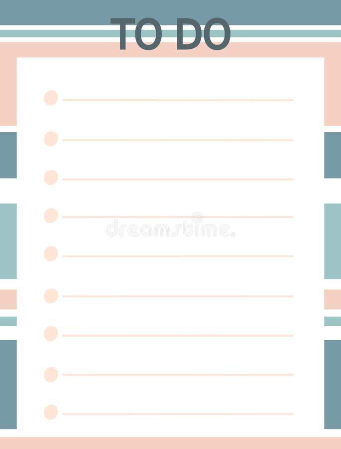 Imprimable bleu rose mignon pour faire la liste avec des rayures illustration stock