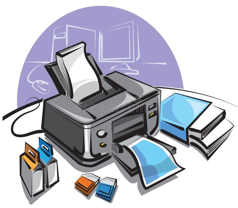 Imprimante à jet d'encre illustration de vecteur