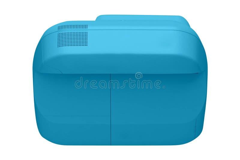 Imprimante à la maison bleue d'isolement sur le blanc photographie stock libre de droits