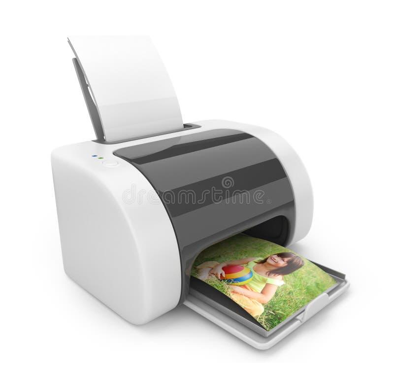 Imprimante 3D. Impression des photos. Graphisme   illustration de vecteur
