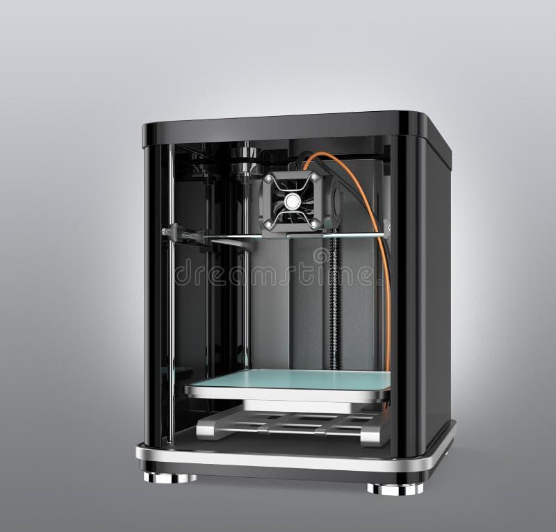 imprimante 3D d'isolement sur le fond gris illustration stock