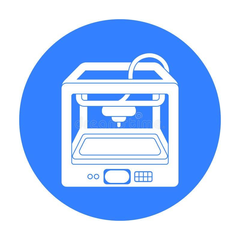 imprimante 3D dans le style noir d'isolement sur le fond blanc Illustration de vecteur d'actions de symbole de typographie illustration libre de droits