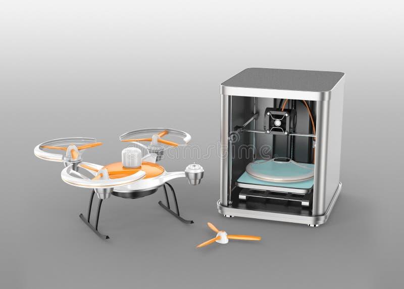 imprimante 3D imprimant des parties de bourdon illustration de vecteur