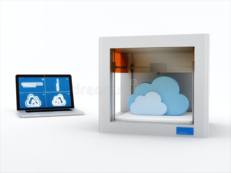 imprimante 3d, imprimant le nuage illustration stock