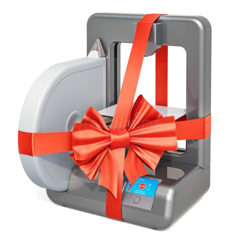 Imprimante 3d moderne avec l'arc et le ruban, concept de cadeau rendu 3d illustration de vecteur