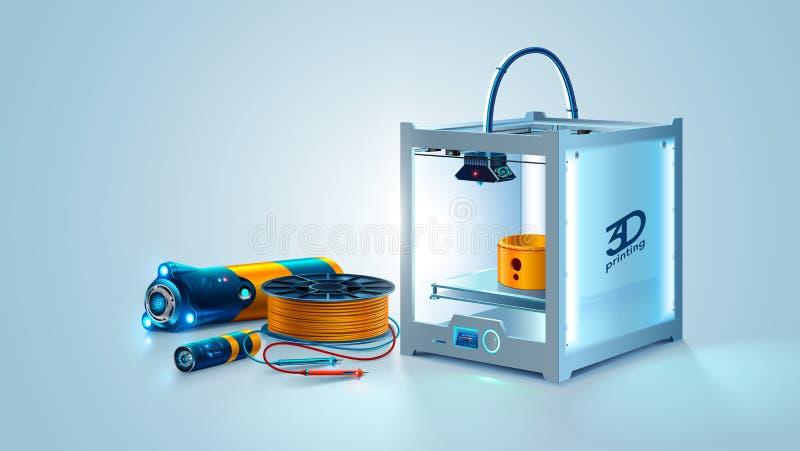 imprimante 3D Objet de fabrication de prototype sur l'imprimante 3d Plastique de filament Instruments de développement d'ingénier illustration stock