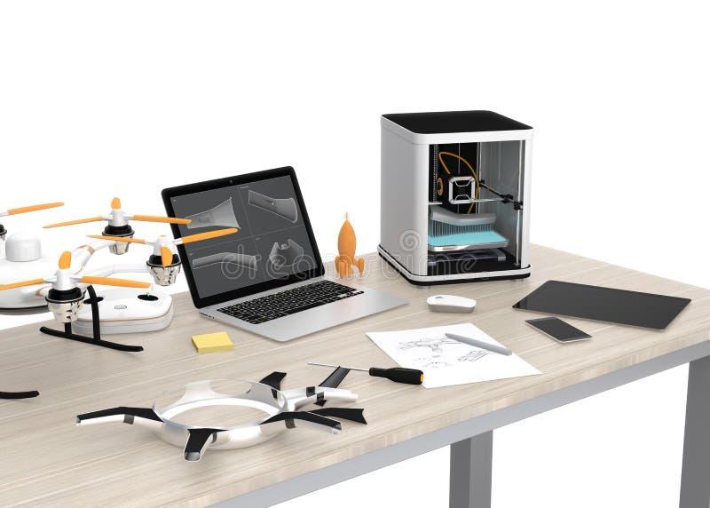 imprimante 3D, ordinateur portable, tablette et bourdon sur une table illustration libre de droits