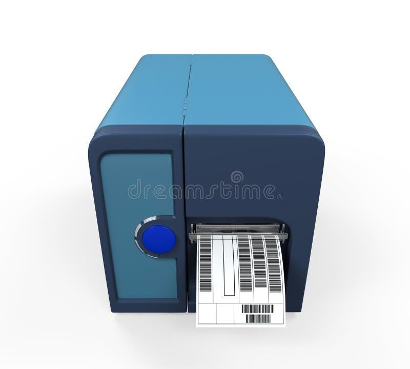 Imprimante de label de code barres illustration de vecteur