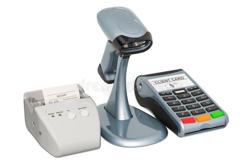 Imprimante de reçu et lecteur de code barres avec le Position-terminal, rendu 3D illustration libre de droits