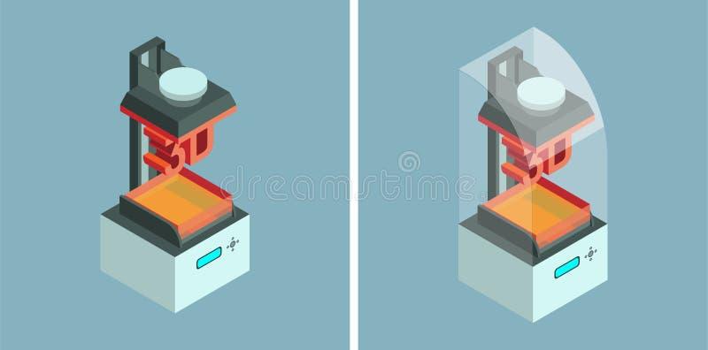 Imprimante de SLA 3d Icônes isométriques de vecteur illustration de vecteur
