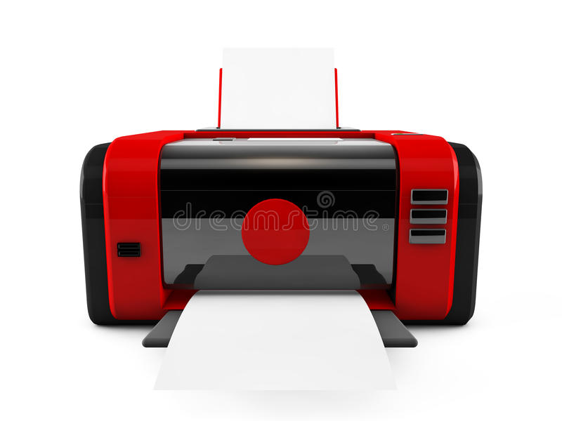 imprimante du rouge 3d illustration stock