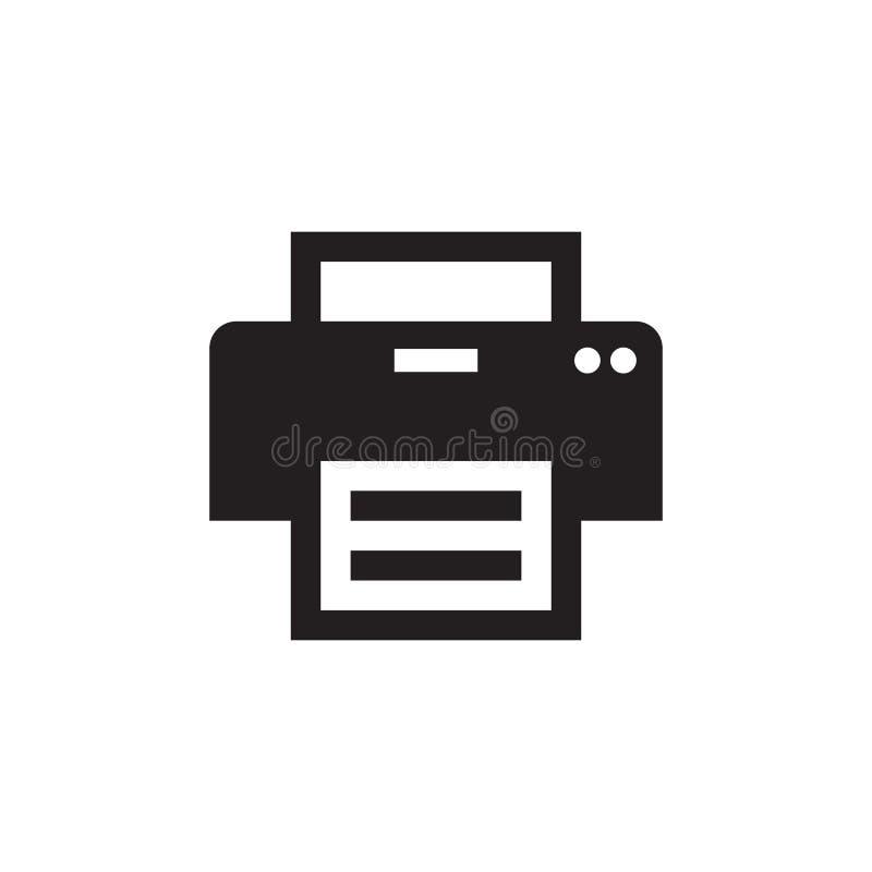 Imprimante - icône noire sur l'illustration blanche de vecteur de fond pour le site Web, application mobile, présentation, infogr illustration stock