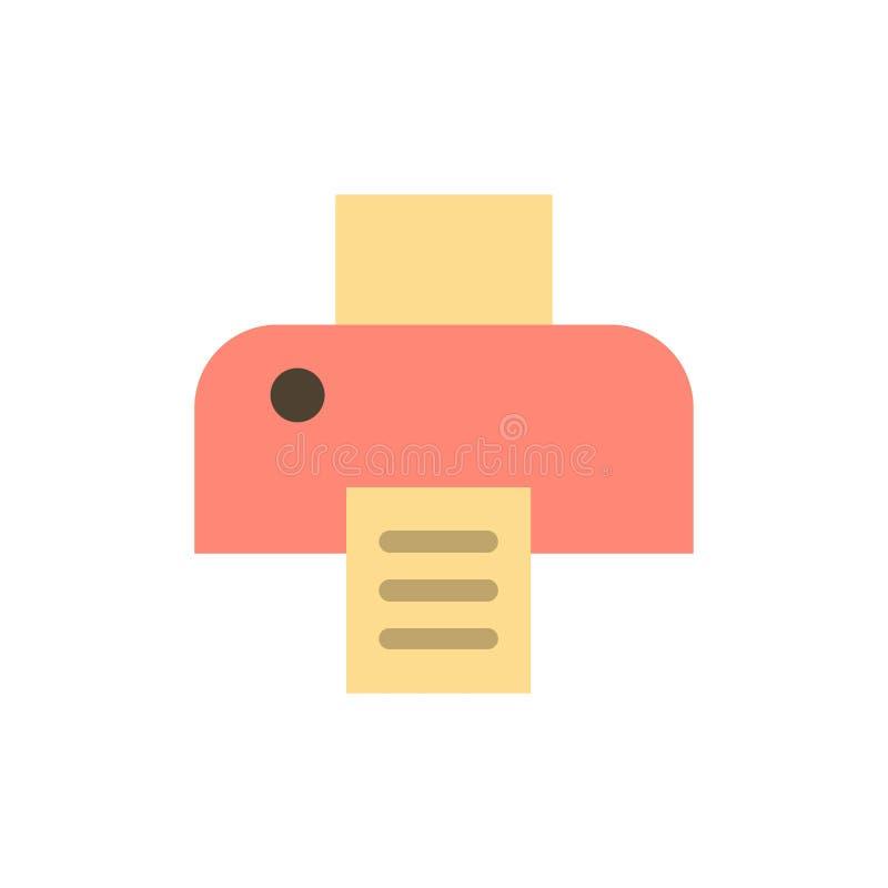 Imprimante, impression, icône plate de couleur d'impression Calibre de bannière d'icône de vecteur illustration stock