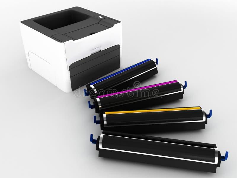 Imprimante laser et cartouches photographie stock