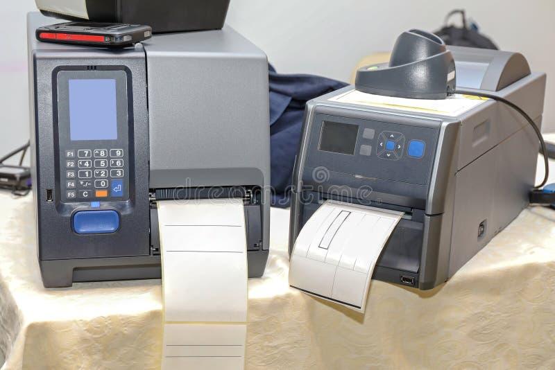 Imprimantes de code barres image libre de droits