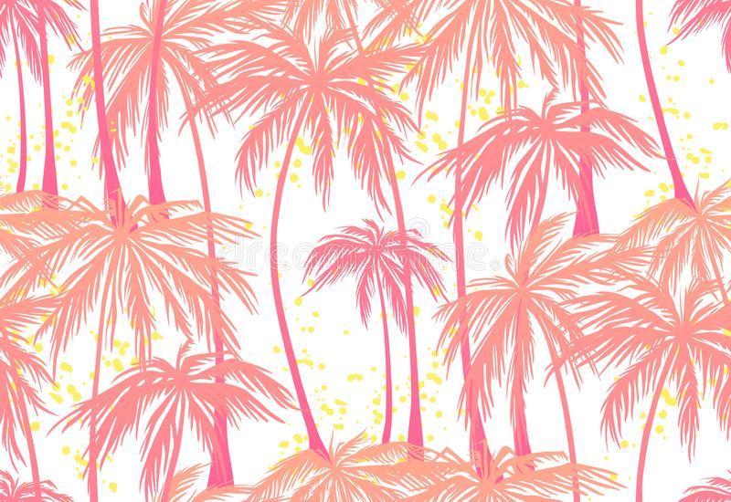Imprimez, modèle sans couture de palmiers roses sur le fond blanc Illustration de vecteur, élément de conception pour la félicita illustration stock