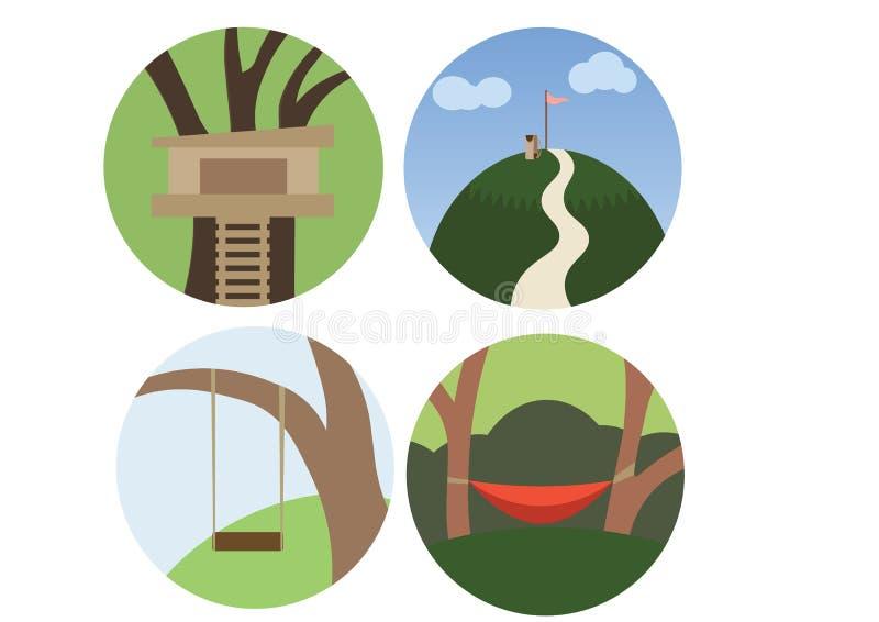 Imprimez pour construire une cabane dans un arbre pour monter le griffonnage de couleur d'oscillation d'arbre de montagne placent illustration de vecteur