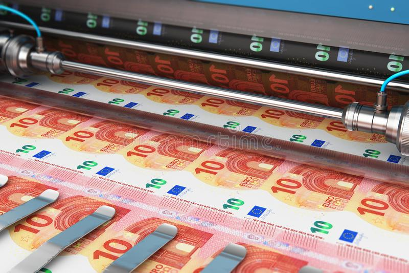 Imprimindo 10 cédulas do dinheiro do Euro ilustração stock