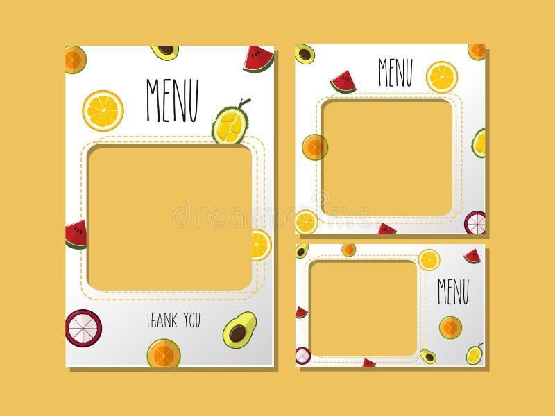 Imprimindo o doce do fruto do menu do molde ilustração stock