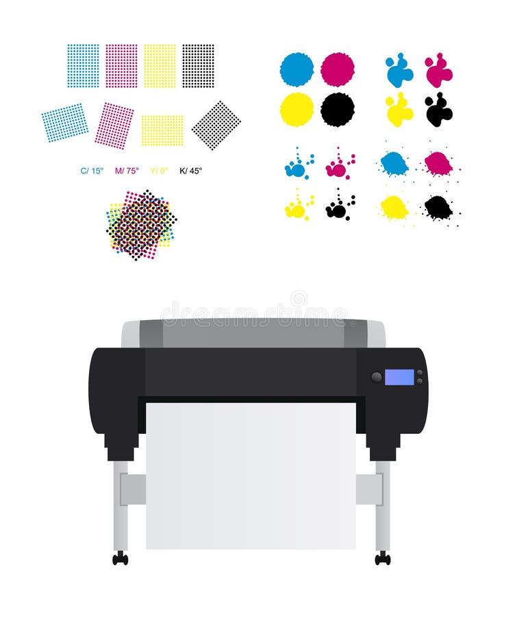 Imprimindo o grupo - rosetas da impressão, grande impressora do plotador do Inkjet e manchas do cmyk ilustração stock