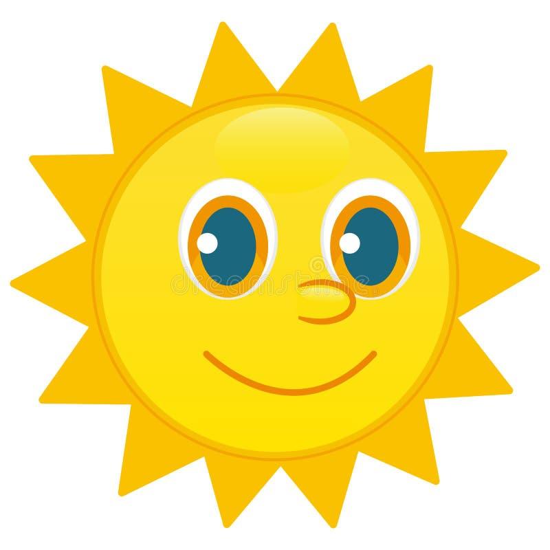 Sun character, happy face vector stock illustration