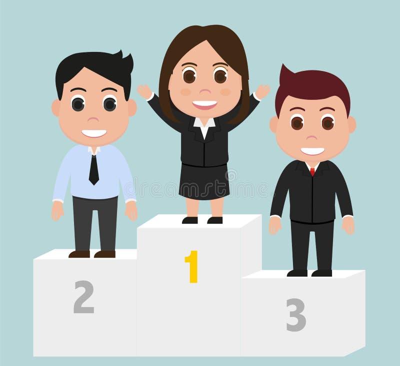 Woman Winner on podium vector stock illustration