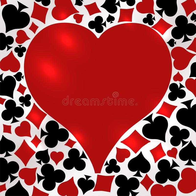 Poker hearts card, vector stock illustration