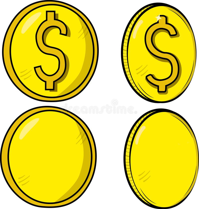 Collection / Set of coins / money with a yellowish tone, two with dollar symbol and two in blank. Vector of currency. vector illustration