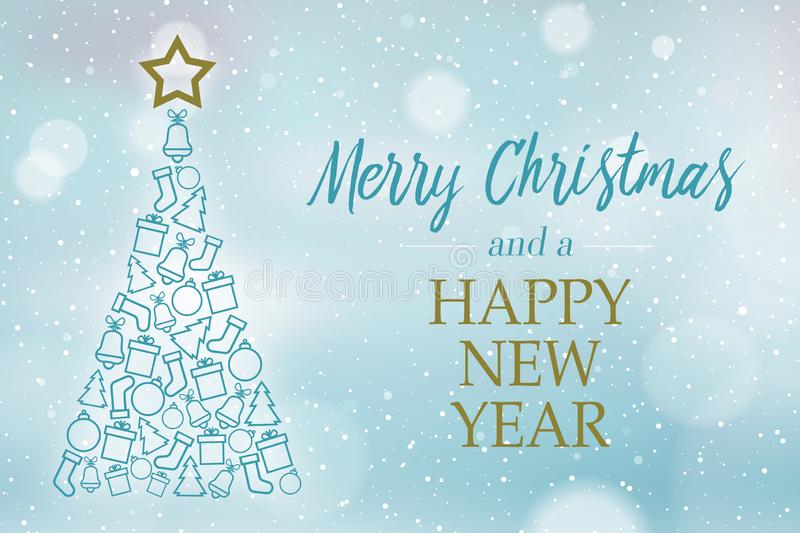 Blue and icy blue background with christmas tree and message merry christmas and a happy new year royalty free illustration