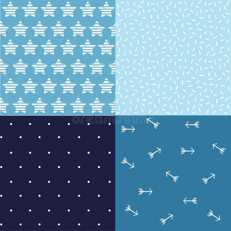 Imprimir Conjunto de planos de fundo azuis jeans, estrelas, setas fotografia de stock royalty free