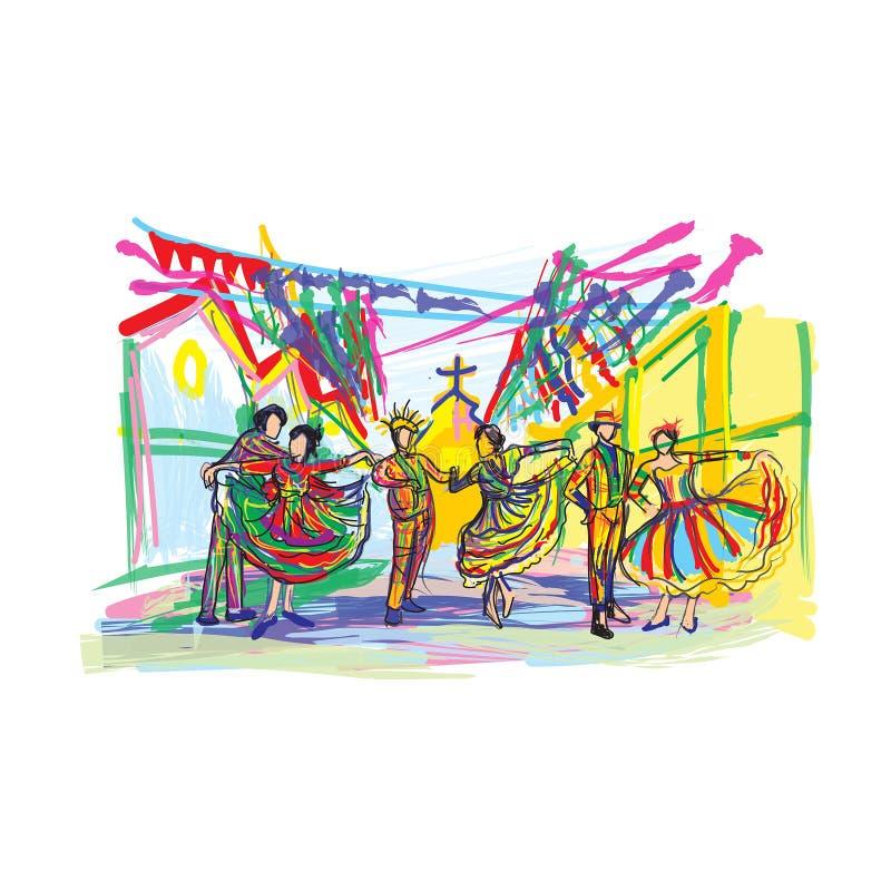 Imprimir ilustração colorimal do festival de dança de modelo imagens de stock