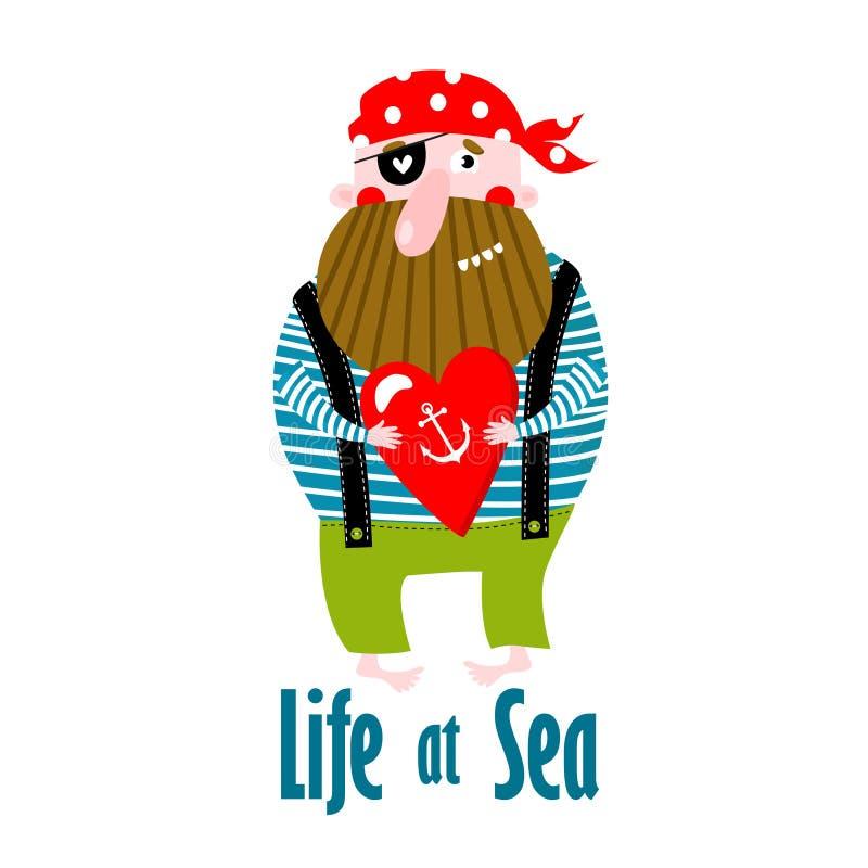 Imprimir Ilustração vetorial de um pirata de desenho animado pôster para crianças Vida no mar imagem de stock royalty free
