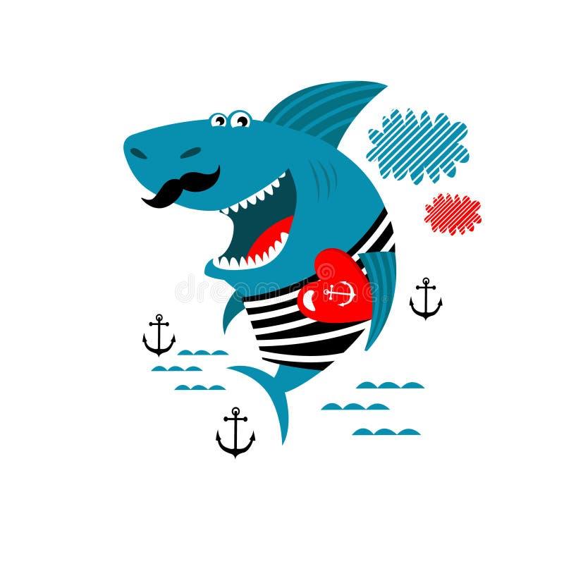 Imprimir Ilustração vetorial do tubarão-caricatura pôster para crianças L fotos de stock