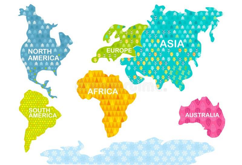Imprimir. Mapa del mundo colorido. Continentes con patrones. África, América, Asia, Europa, Australia, Antártida libre illustration