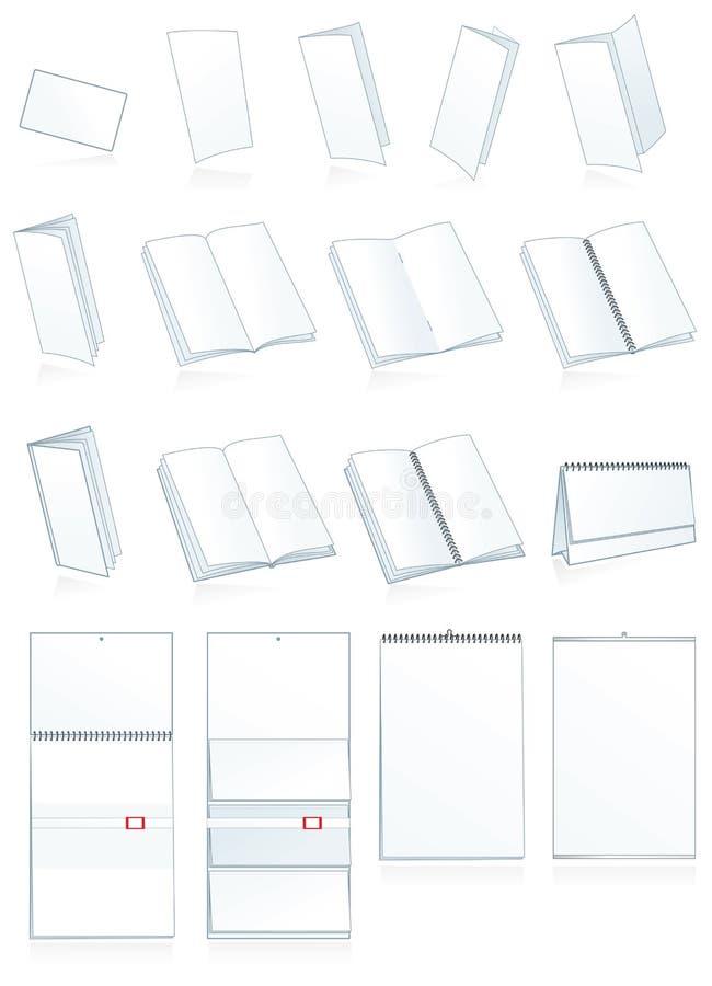 Imprimir-pressione a produção de papel. Folhetos, livretos ilustração royalty free