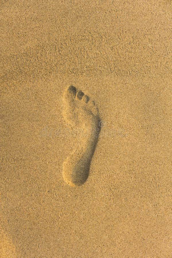 Imprint of the bare right foot on the yellow sand royalty free stock photos