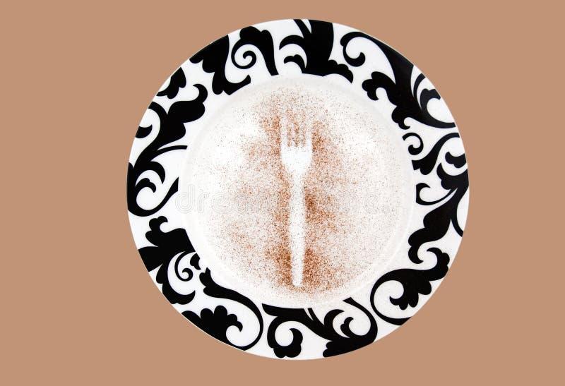 Imprint da forquilha em uma placa. tiro do estúdio imagens de stock royalty free
