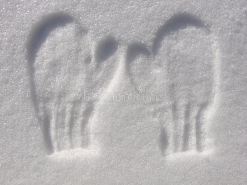 Imprint dos mittens na neve imagem de stock