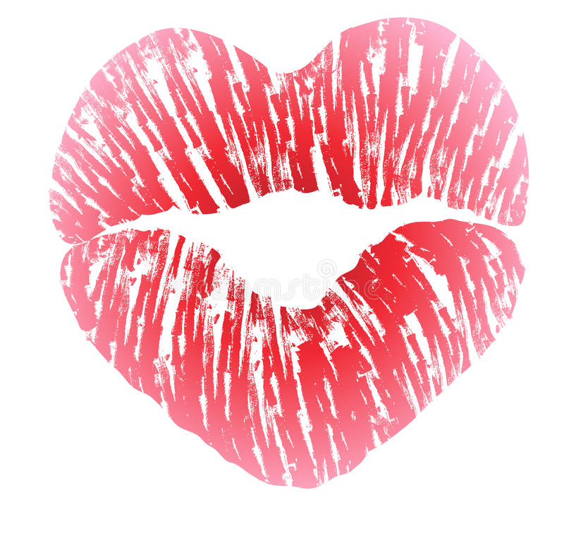 Imprint Of Heart Shaped Lips Stock Vector