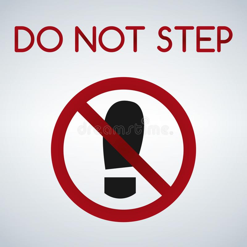 Imprint soles shoe sign icon. Shoe print symbol. Do not step. Red prohibition sign. Stop symbol. Vector isolated on light background stock illustration