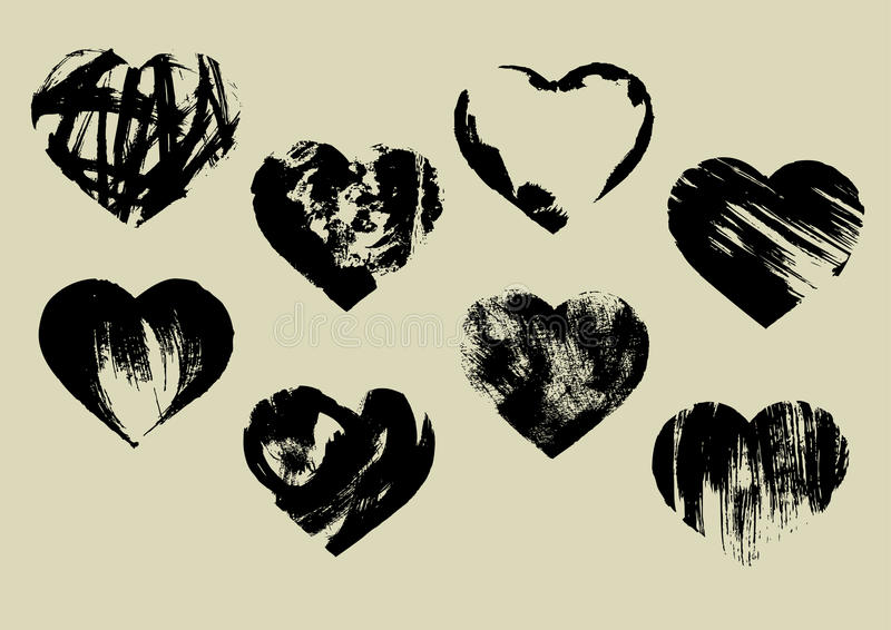 Download Imprinted hearts stock vector. Image of hand, paint, painting - 28555104