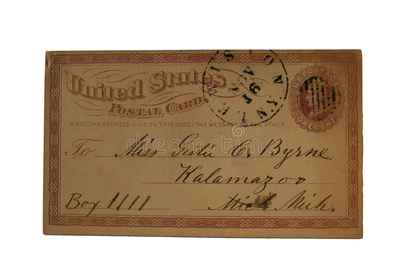 An imprinted one cent US postcard posted in Lewiston, NY and addressed to Kalamzoo, Michigan. A very early US Postcard from 1875 stock images