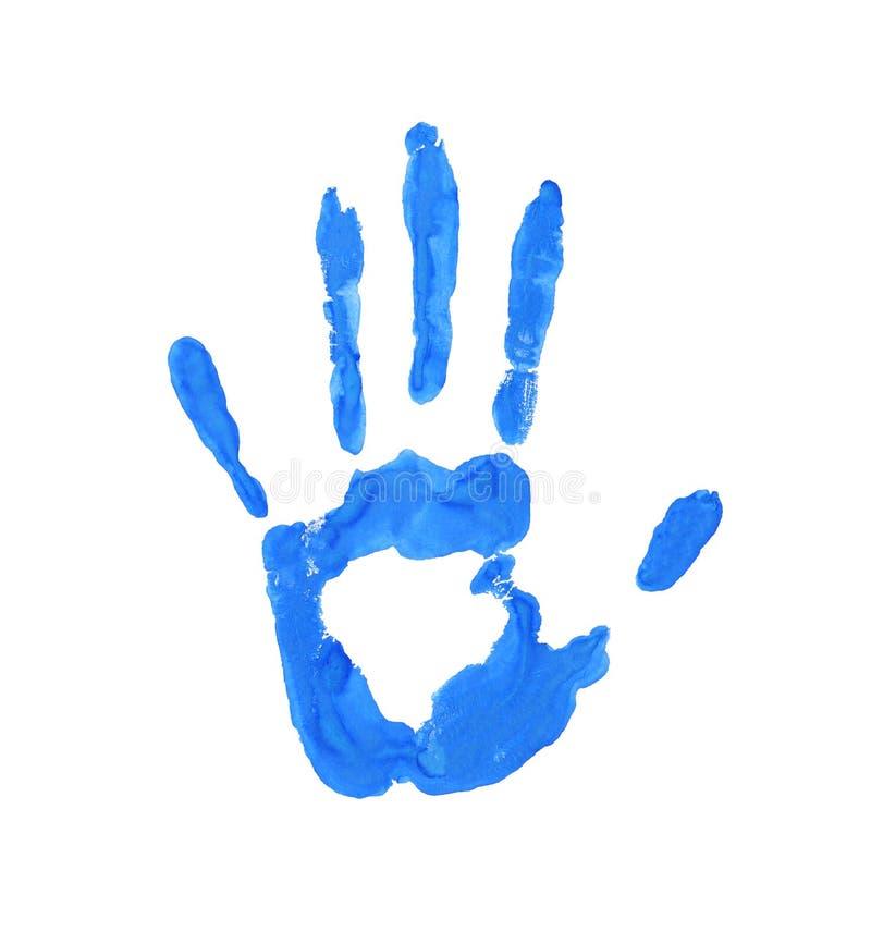imprinten gömma i handflatan Hand i målarfärg vattenfärghandprint på isolerat papper stock illustrationer